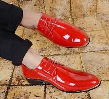 Size38-48 Men Shiny Formal Lace up Pointy Toe Wedding Dress Shoes Patent Leather