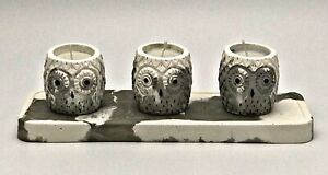 4 Pcs UK Highly Scented Wax Owl Candles Tray Handmade Grey Set White Gift Marble