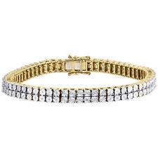 Yellow Finish Sterling Silver 0.27 ct. Mens Diamond 2 Row Tennis Link Bracelet