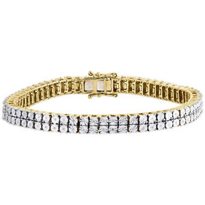 Mens Diamond 2 Row Tennis Link Bracelet Yellow Finish Sterling Silver 0.27 ct.
