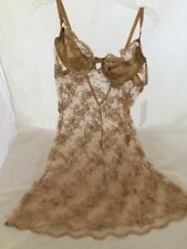 Babydoll w/Underwire Bra Papillon by Paula Carbone Gold Lace Nwt Large