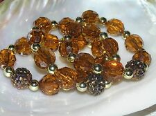 Estate Lot of 3 Plastic Orange Faceted w Goldtone Spacer & Rhinestone Encrusted