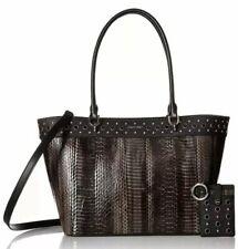 Calvin Klein Susan Python Snake Studded Tote Shoulder Bag Dark Taupe Black