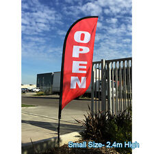 2.4m OPEN Flag Set / Outdoor Feather Flag / Flag Banner Set - Ready to Ship!