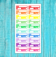 20 COLORFUL BILL DUE PAYMENT TRACKER STICKERS FOR PLANNER OR CALENDAR PLANNING