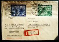 SBZ Alliierte Besetzung MiNr 967 - 968 MiF R- Brief mit SST Leipzig - Lindenthal
