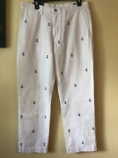 Polo Ralph Lauren Men's Pants 30 x 30 Classic Fit All over Anchor Print White