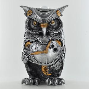 Steampunk Design Owl Silver Finish Sculpture / Figurine.