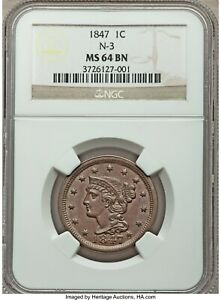 1847 LARGE CENT, BRAIDED HAIR, NGC-64 BN, Newcomb N-3 - SUPER NICE OVERDATE -sks