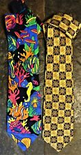 NECK TIE Lot 2 Neckties Aquarium Fish Silk Rosetti & Yellow Print by UTY  B