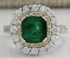 2.88 Carat Natural Emerald 14K Two Tone Gold Diamond Ring