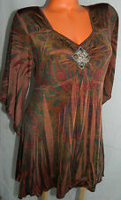 ONE WORLD XLarge XL 14 16 TUNIC Top BOHO Peasant SILKY Brown SUBLIMATION Gyspy v