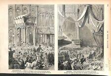 Alexandre II Palais d'Hiver St-Petersbourg/Roi & Reine des Pays-Bas GRAVURE 1879