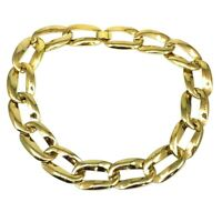Vintage Large Chunky Curb Chain Link Gold Tone Necklace