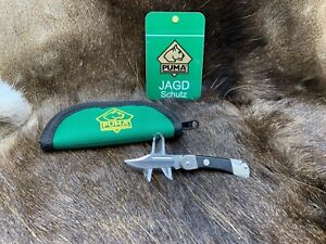 Puma 23 0255 Corporal Knife With Black Checkered Handles Mint In Green Pouch+++