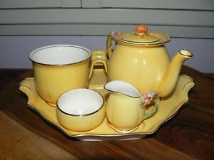"""Royal Winton """"Tiger Lily"""" 6 Piece Breakfast Set For One c.1940's"""
