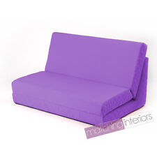 Purple Fold Out Z Bed Double Chair 2 Seat Sofa Guest Bed Mattress Futon Student