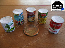5 Miniature food cans. Campbell's, Del Monte, Green Giant etc.. Scale 1:6 CAN
