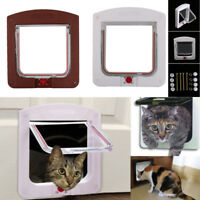 Small Dog Cat Door Pet Animal Magnetic Locking Lockable 4 Way for Pet Entry Exit