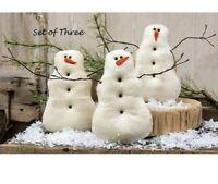 "PRIMITIVE SNOWMAN DOLLS 3 pcs Christmas 7.25"" x 5.5"" Tea Stained Winter Crafts"