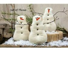 "Primitive Snowman Dolls 3 pcs Christmas 7.25"" x 5.5"" Tea Stained Winter Crafts"