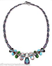 Multicolor & Fire Opal Inlay 925 Sterling Silver Southwestern Style Necklace