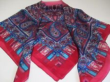 MADE IN INDIA BNIP CHERRY RED & NAVY PAISLEY PRINT 98cms PURE SILK SQUARE SCARF