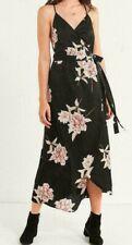 Urban Outfitters Floral Wrap Dress Size XS Satin Black Strappy Midi Black