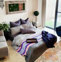 Bed Linen Duvet Doona Covers King Size Bedding Set Grey Blue Cotton Reversible