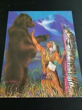 Chief w/ Bear Spirit Picture Print in Lithograph by Dealer