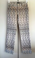 Womens Roberto Cavalli Brown Bone Pastel Pink & Blue Feather Print Jeans Size 40