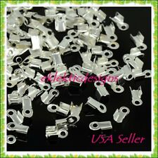 100pc Silver Plated Cord Ends Caps Tips 9x3.5mm Crimps Necklace Jewelry Findings