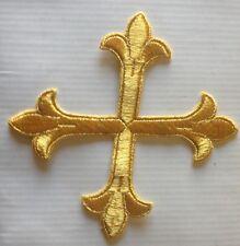 "6"" Gold metallic CROS Christian RELIGIOUS Embroidered Stitches Applique Patch"