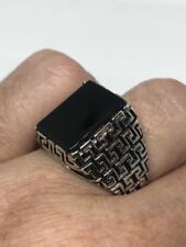 Vintage 925 Sterling Silver Black Onyx Egyptian Size 12 Ring