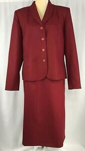 Pendleton Women's Suit 14 Blazer Skirt 100% Virgin Wool Career Red Vintage