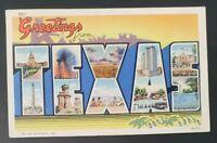 Vintage Postcard Large Letter Greetings from Texas Postmark 1940