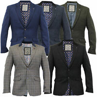 mens wool mix checked herringbone tweed slim fit blazer jacket by Cavani