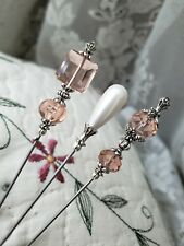 Hat Pins 3 Antique Vintage Inspired Victorian, Pink Glass & Pearl, Silver Bead