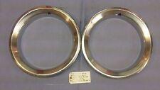 """525709 Pair 14 X 7"""" Pontiac Brushed Stainless Steel Trim Rings Used OEM"""