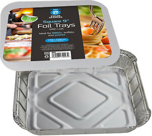 """12 x LARGE ALUMINIUM FOIL FOOD CONTAINERS TRAYS & LIDS SQUARE - 9"""" x 9"""" x 2"""" NEW"""