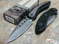 "NEW 8"" BLACK Spring Assisted Open TACTICAL DAMASCUS ETCHED Pocket Knife FOLDING"