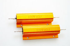 2Pcs 100w 4 Ohm 5% Resistance Gold Tone Aluminum Shell Resistor
