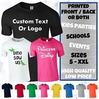 Kids Personalised T-Shirt Printing Custom Design Name Text Printed Boys Girls