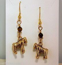 Gold 3D Hand crafted Gorilla Earrings w/ Tiger Eye genuine gemstones