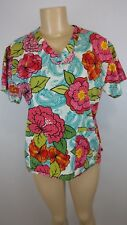 Med Couture Womens Multicolor Floral Two Pocket Scrub Medical Nurse Size Small S