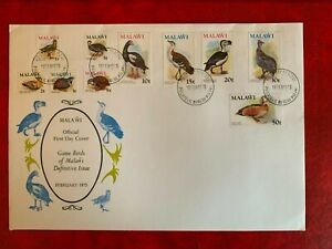 MALAWI 1975 FDC OR USED GAME BIRDS QUAIL GOOSE DUCK SNIPE BUSTARD FOWL GROUSE