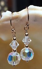 Vintage 1950's AB Faceted Crystal Bead, Swarovski 14ct Rose Gold Earrings #104