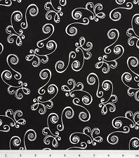 BLACK WITH WHITE SWIRLS VALANCE CURTAIN