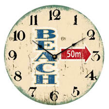 """Reloj de pared 30cm con fijación en Madera Beach Diseño"""" 50m"""" Playa Vintage"""