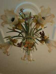 Antique Handmade French Floral 5 Lights Iron Glass Chandelier Fixture